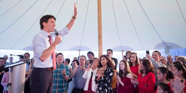 Prime Minister Justin Trudeau addresses the crowd at a Liberal fundraiser in Wolfville, N.S. on May 31,
