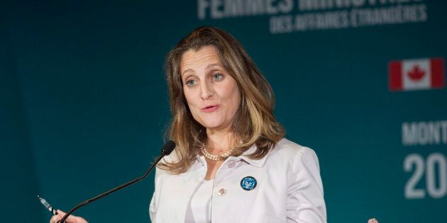 Foreign Affairs Minister Chrystia Freeland speaks at a news conference during a meeting of Women Foreign...