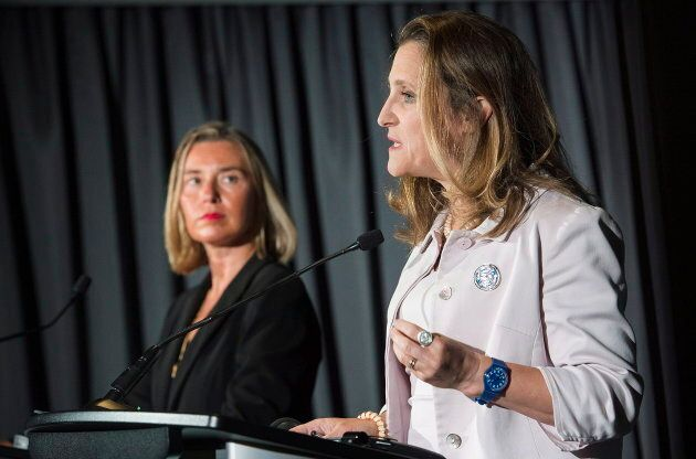 Federica Mogherini, the high representative of the European Union, and Canada's Foreign Affairs Minister...