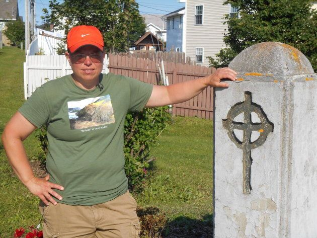 Gemma Hickey is shown at the Mount Cashel Memorial after walking 30 days straight across Newfoundland...