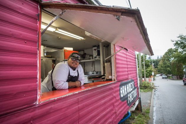 Chef Paul Natrall in the trailer where he operates his catering