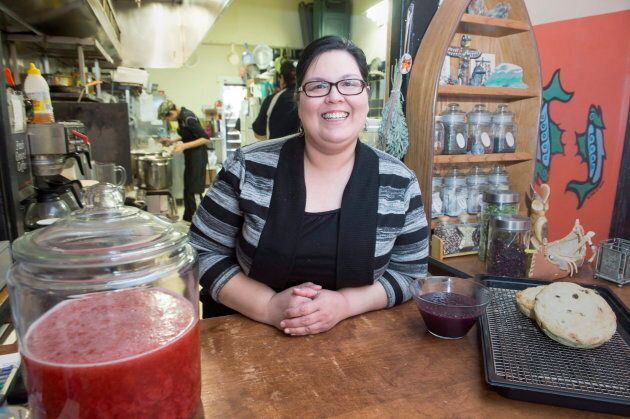 Tina Ottereyes, manager of Tea-N-Bannock, poses for a portrait at the restaurant, in Toronto on March...