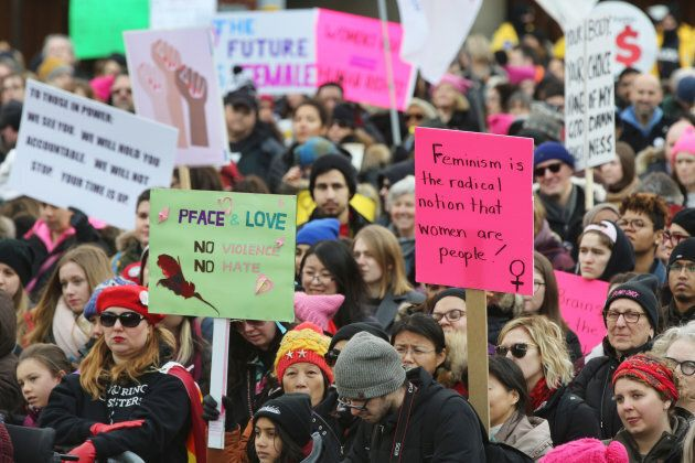 Hundreds take part in the Women's March in downtown Toronto on Jan. 20,