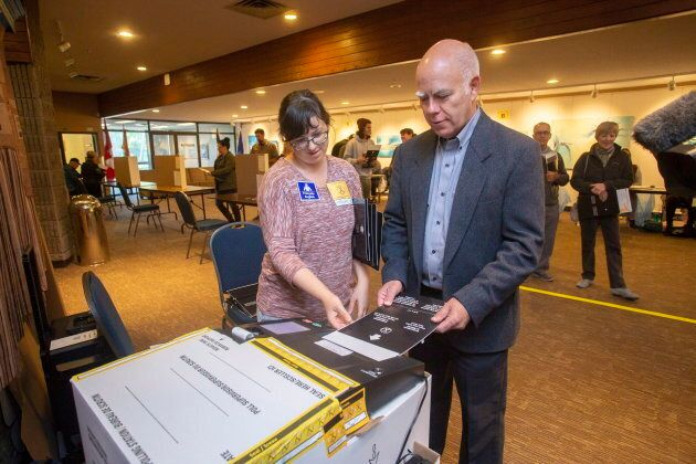 New Brunswick Green Party Leader David Coon casts his vote at the Centre Communautaire Saint-Anne in...