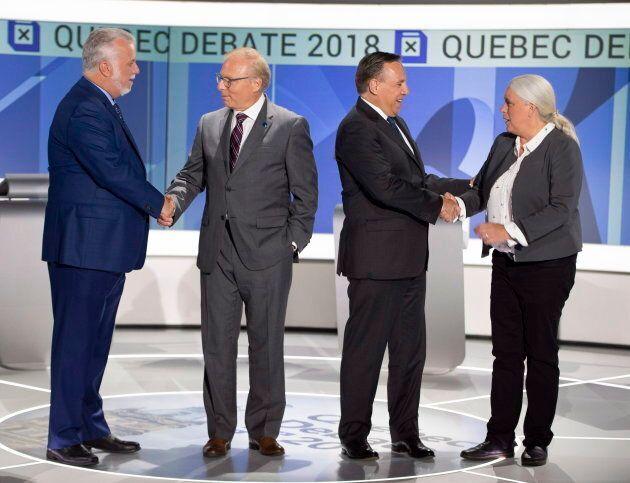 Liberal leader Philippe Couillard, PQ leader Jean-François Lisée, CAQ leader François Legault and Quebec...