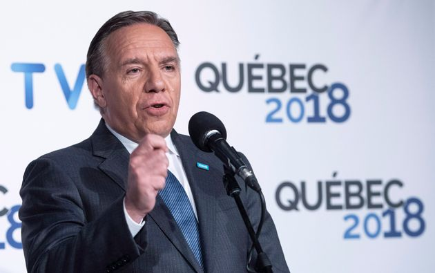 Coalition Avenir Quebec's Francois Legault responds to questions following the third Quebec elections...