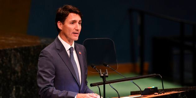 Prime Minister Justin Trudeau addresses the Nelson Mandela Peace Summit on Sept. 24, 2018, a day before the start of the 73rd session of the General Assembly at the United Nations in New York.