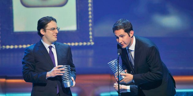 Instagram founders Mike Krieger (L) and Kevin Systrom accept their Webby Breakout Of The Year awards...