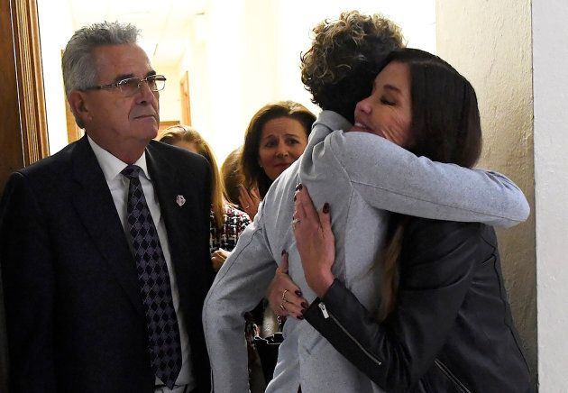 Andrea Constand embraces Janice Dickinson after the sentencing of Bill Cosby in Norristown, Pennsylvania...