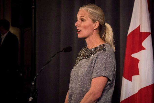 Minister of Environment and Climate Change Catherine McKenna addresses the media in Saskatoon, Sask.,...