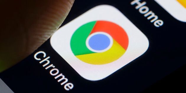 A Google Chrome app icon on a smartphone in Berlin, Germany, Feb. 26, 2018. Google is scrambling this...