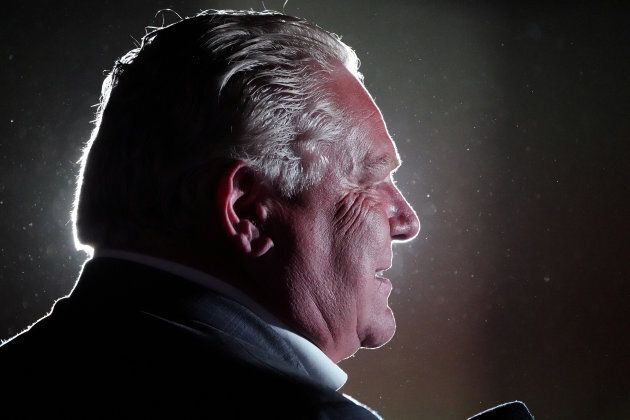 Doug Ford attends a campaign event in Caledonia, Ontario, on June 6,