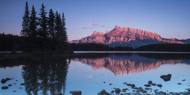 A sunrise at the Two Jack Lake in Banff National Park.