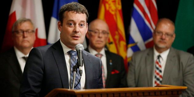 Nova Scotia Health Minister Randy Delorey answers questions during the Conferences of Provincial-Territorial...