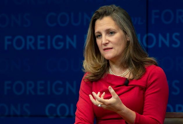 Foreign Affairs Minister Chrystia Freeland participates in a discussion at the Council on Foreign Relations...