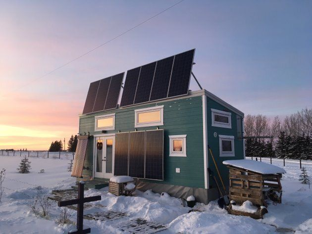 Zerbin's home sits in a field north of Edmonton and is outfitted with multiple solar panels, which help...