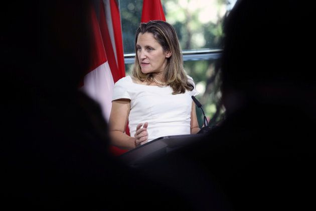 Foreign Minister Chrystia Freeland takes part in a news conference at the Embassy of Canada in Washington...
