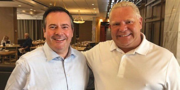 United Conservative Party Leader Jason Kenney and Ontario Premier Doug Ford are shown in a photo posted to Twitter.