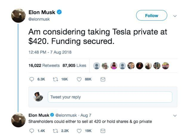 Elon Musk Is Being Sued By U.S. Stock Regulator Over Joke He Made To Impress