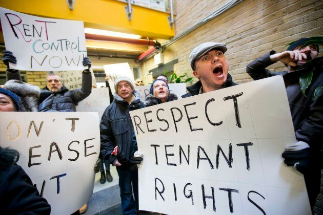 enants in the Parkdale neighbourhood of Toronto protesting Above Guideline Rent increases on March 16, 2017.
