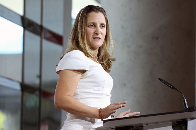 Canadian Foreign Minister Chrystia Freeland takes part in a news conference at the Embassy of