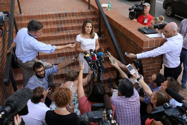 Freeland speaks to journalists outside the U.S. Trade Representative's office in Washington, D.C. on...