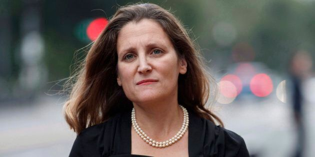 Chrystia Freeland arrives at the Office Of The United States Trade Representative on Sept. 11,
