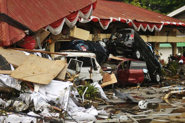 Damage from an earthquake and tsunami can be seen in Palu, Central Sulawesi, Indonesia Saturday in this...