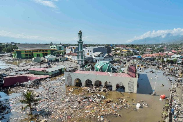 An aerial view of the Baiturrahman mosque which was hit by a tsunami, after a quake in West Palu, Central...