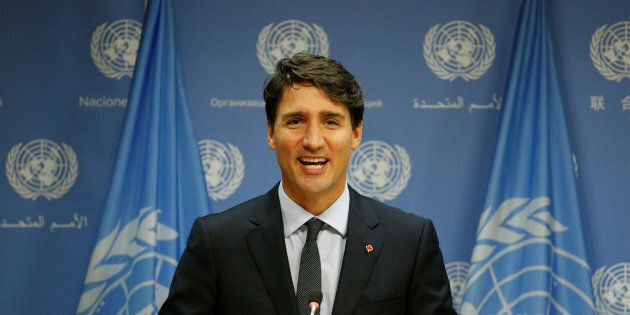 Prime Minister Justin Trudeau speaks during a news conference after addressing the 72nd United Nations General Assembly in New York City on Sept. 21, 2017.
