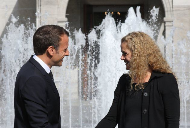 Julie Payette greats French President Emmanuel Macron at Rideau Hall on June 6, 2018 in