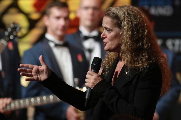 Julie Payette speaks during a reception at the Canadian Museum of History for a reception in Gatineau,...