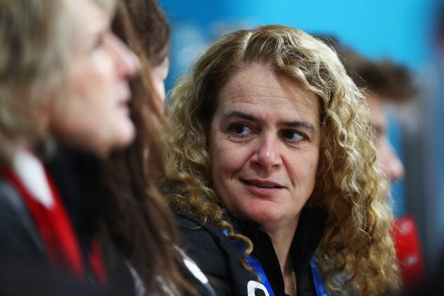 Julie Payette looks on during the Curling Mixed Doubles on day two of the PyeongChang 2018 Winter Olympic...