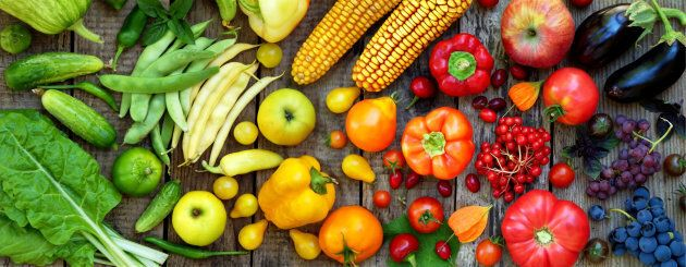 Yellow, orange and red fruits and vegetables.