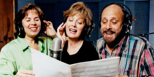 Sharon, Lois and Bram performing together before Lois Lilienstein (middle) died in 2015 of