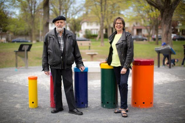 Sharon and Bram at June Rowlands Park in Toronto, which was named after the famous children's music trio Sharon, Lois and Bram.