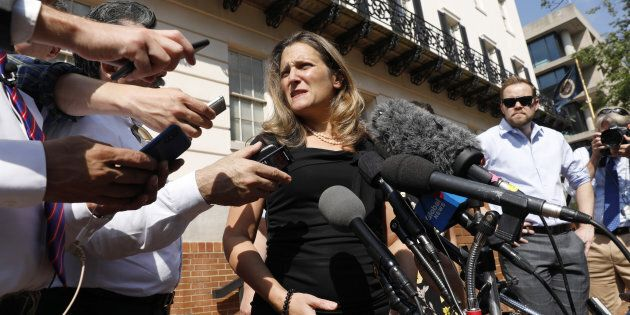 Foreign Affairs Minister Chrystia Freeland outside the U.S. Trade Representative office in Washington,...