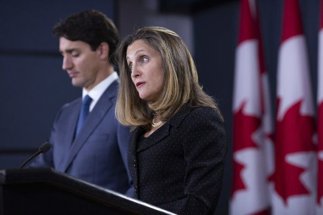 Prime Minister Justin Trudeau and Minister of Foreign Affairs Chrystia Freeland announce details of the USMCA at the National Press Theatre in Ottawa on Oct. 1, 2018.