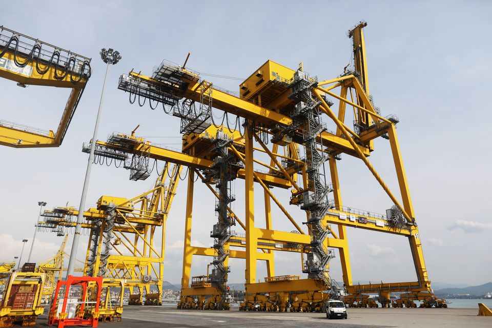 TRIESTE, ITALY - APRIL 2: A huge crane is seen at the Pier VII at Trieste's new Port on April 2, 2019...