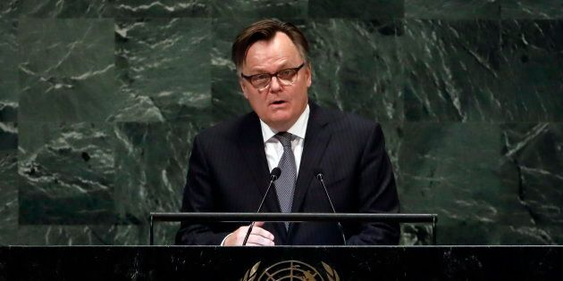 Canada's UN Ambassador Marc-Andre Blanchard addresses the 73rd session of the United Nations General Assembly, at U.N. headquarters on Oct. 1, 2018.