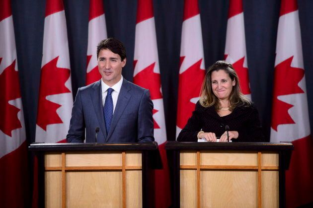 Prime Minister Justin Trudeau and Foreign Affairs Minister Chrystia Freeland hold a press conference regarding the United States Mexico Canada Agreement (USMCA) at the National Press Theatre, in Ottawa on Oct. 1, 2018.
