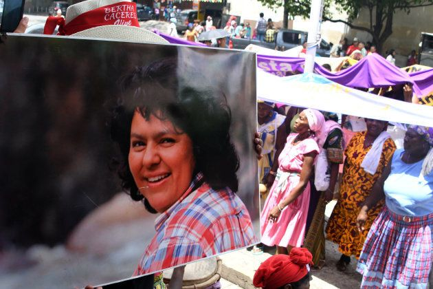 Garifuna women protest demanding justice in the case of the murder of the Lenca indigenous leader Berta...