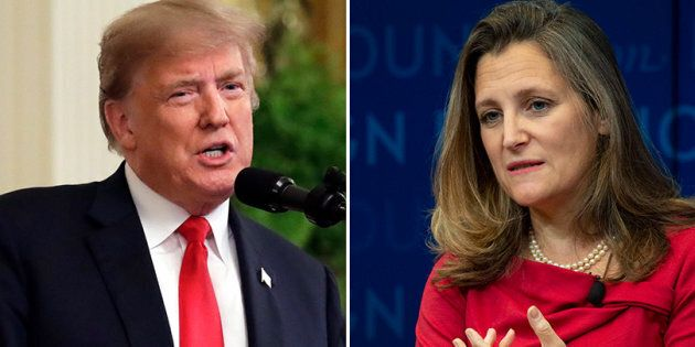 U.S. President Donald Trump, Foreign Affairs Minister Chrystia Freeland are shown in a composite