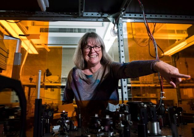 Noble Prize winner Donna Strickland shows the media her lab after speaking about her prestigious award...