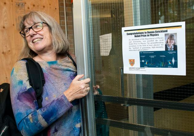 Donna Strickland enters the University of Waterloo's physics building after being awarded the 2018 Nobel Prize for Physics.