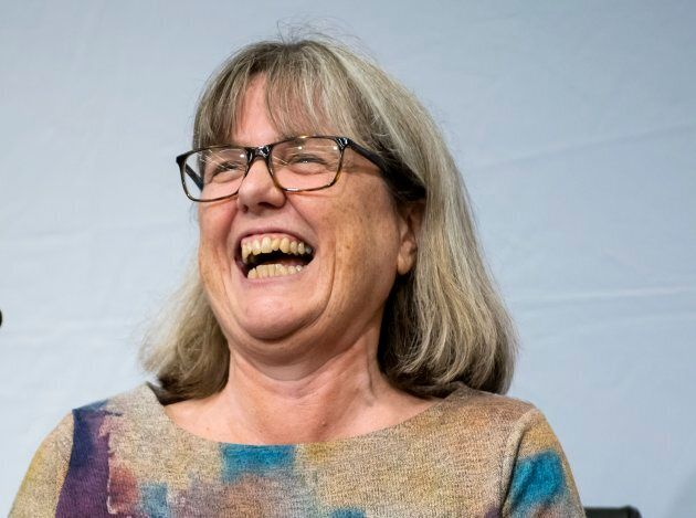 Donna Strickland speaks at a press conference after being awarded the 2018 Nobel Prize for Physics.