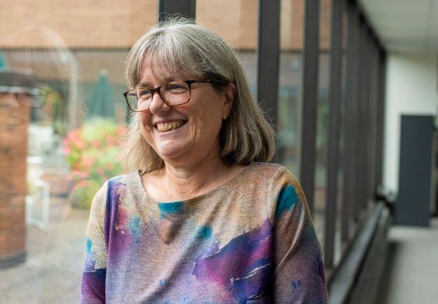 Donna Strickland poses for pictures after being awarded the 2018 Nobel Prize for Physics.