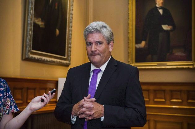 Interim Leader of the Ontario Liberal party John Fraser speaks to media at Queen's Park in Toronto on...