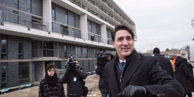 Prime Minister Justin Trudeau visits a housing development in Toronto's Lawrence Heights neighbourhood...