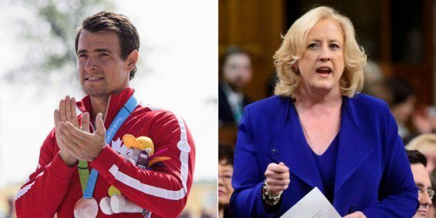 Adam van Koeverden is shown in a composite image with Conservative MP Lisa Raitt.